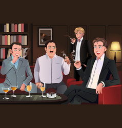 People in a cigar lounge vector