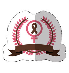 pink symbol breast cancer ribbon image vector image