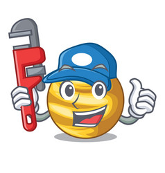 Plumber planet venus isolated with on mascot vector
