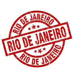 Rio de janeiro red round grunge stamp vector