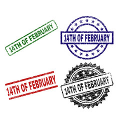 Scratched textured 14th of february stamp seals vector