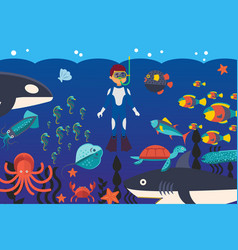 sea activities diving in ocean meeting vector image