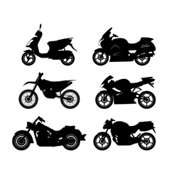 set black silhouettes motorcycles vector image