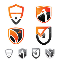set logo security shield emblem vector image