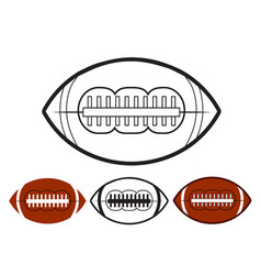 set of ball american football oval iconon white vector image