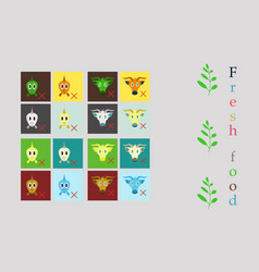 Set of butchery logo templates farm animals vector