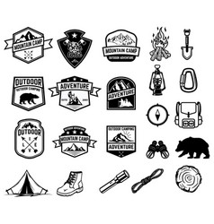 set of camping hiking tourism emblems design vector image
