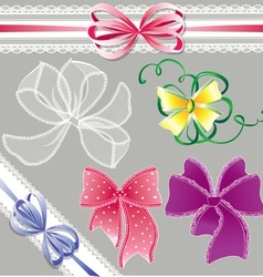 Set of different colors lace bows - for holidays vector