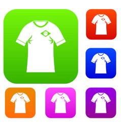 shirt with flag of brazil sign set color vector image