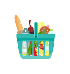 shopping basket with foods vector image