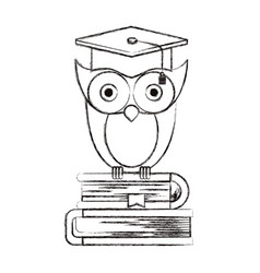 Sketch blurred silhouette of owl knowledge with vector
