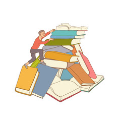 Sketch man climbing books pile vector