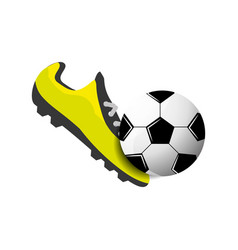 Soccer shoes witn ball vector