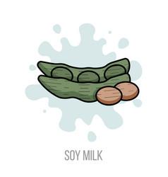 soy milk flat healthy vegetarian drink soybean vector image