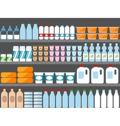 Store shelves with milk and dairy products vector image