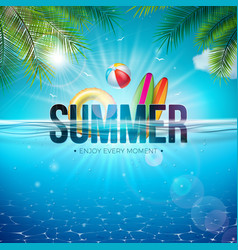 summer with beach ball palm vector image