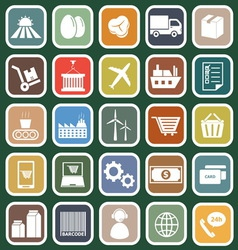 Supply chain flat icons on green background vector