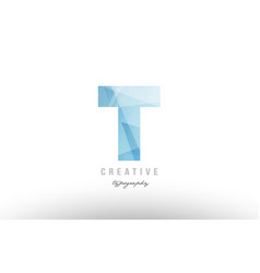 t blue polygonal alphabet letter logo icon design vector image