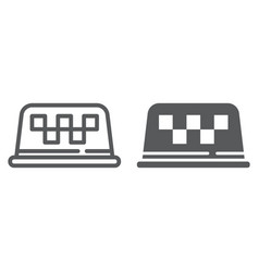 taxi lamp line and glyph icon taxi and light vector image