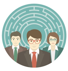 Team in Labyrinth vector image