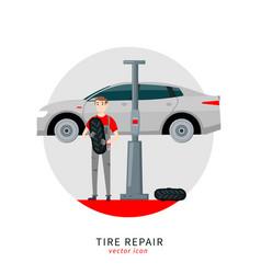 Tire car mechanic vector