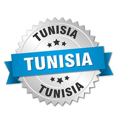 Tunisia round silver badge with blue ribbon vector
