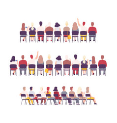 University or college students sitting on chairs vector