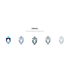 Urinal icon in different style two colored and vector