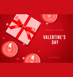 valentines day special offer poster with gift box vector image