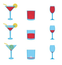 various drinks full and empty icons set eps10 vector image