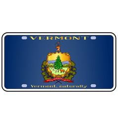 Vermont license plate flag vector