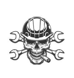 Vintage monochrome builder skull vector