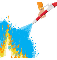 water hose in hand to extinguish fire vector image