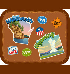 Wisconsin wyoming travel stickers vector