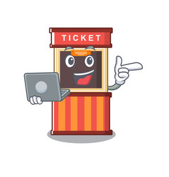 With laptop ticket booth edge mascot table vector