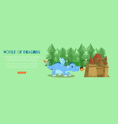 word fairy dragons with medieval castle and vector image