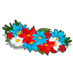 Wreath of bright summer flowers isolated on white vector