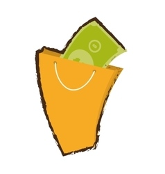 yellow bag gift present with bill money sketch vector image