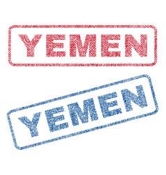 Yemen textile stamps vector