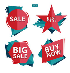 collection of sale discount styled origami vector image vector image
