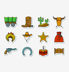 cowboy and western icons set in line art vector image