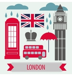 Poster With London Symbols and Landmarks vector image