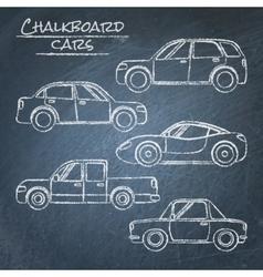 Set of car sketches on chalkboard vector image vector image