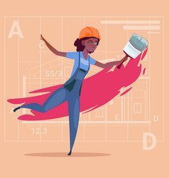 cartoon female painter hold paint brush african vector image