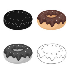 donut with chocolate glaze icon in cartoon style vector image