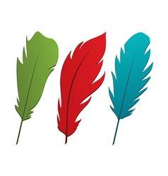 Set colorful feathers vector image vector image