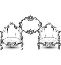 vintage baroque rococo furniture rich vector image