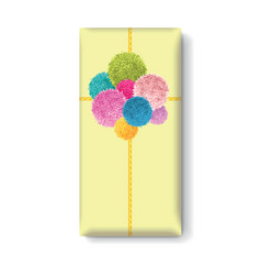 Yellow gift box with a bunch of colorful vector