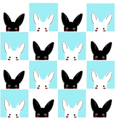 Blue white rabbit chess board background vector