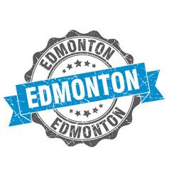 edmonton round ribbon seal vector image vector image